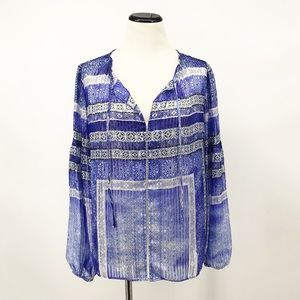 Parker : Blue 'Persimmon' Silk Blouse Medium